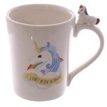 "Taza de unicornio 3D, Taza de cerámica, tazas de café con nubes blancas, ""no creo en los humanos"", botella de agua de caballo Arco Iris, tazas de desayuno"