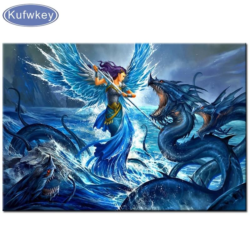 Diy, bordado de diamantes, fantasía de Ángel Guerrero Dragón monstruo marino, 5D, pintura de diamantes, punto de cruz, mosaico de diamantes, decoración,