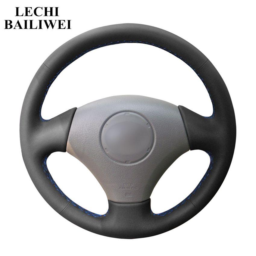Mano de bricolaje-negro de punto de cuero Artificial cubiertas de volante de Vios para Toyota Corolla 2000-2004 2 para Lexus GS43