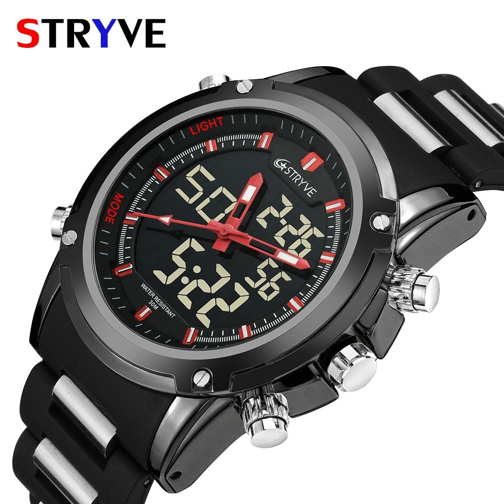 Top Men Watches Luxury Brand Stryve Quartz LED Dual Time Clock Sports Waterproof Men Army Military Wrist Watch Relogio Masculino