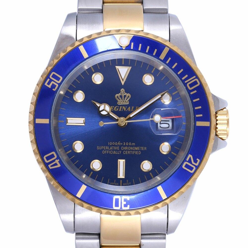 Reloj regined de lujo para Hombre, bisel giratorio GMT, zafiro, fecha, oro, acero inoxidable, esfera azul, Reloj de cuarzo, Reloj para Hombre