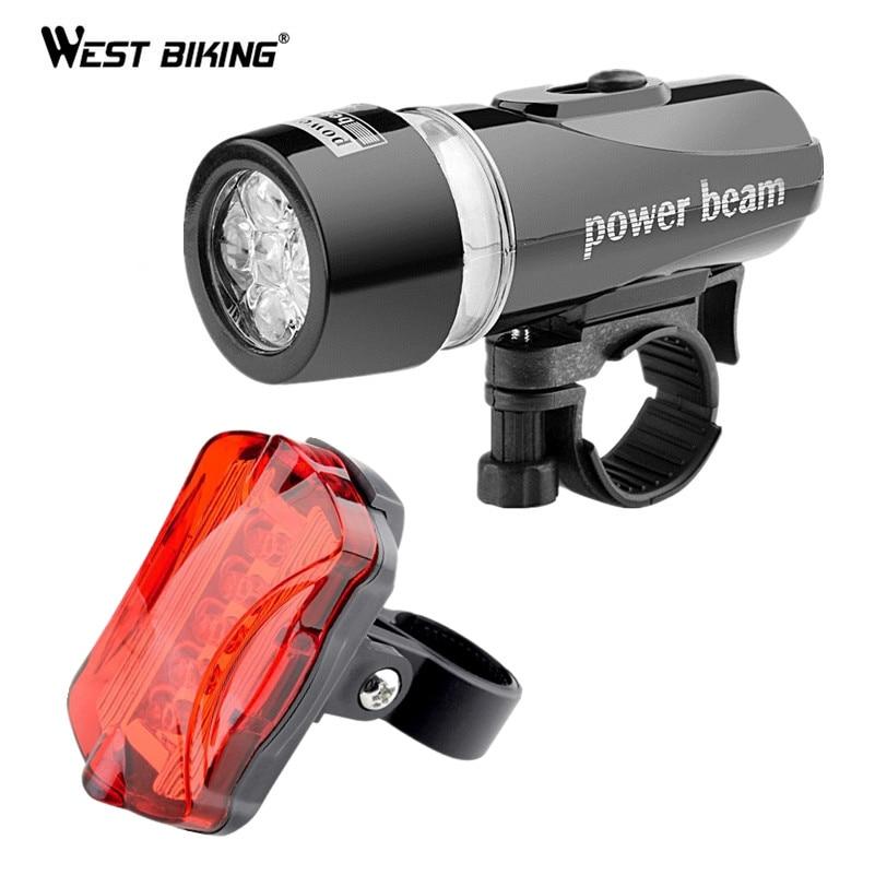 West Biking Waterproof LED Lamp Bike Cycling Front Head Light + Rear Safety Flashlight Bicycle Tail Lamp Headlight Cycling Light