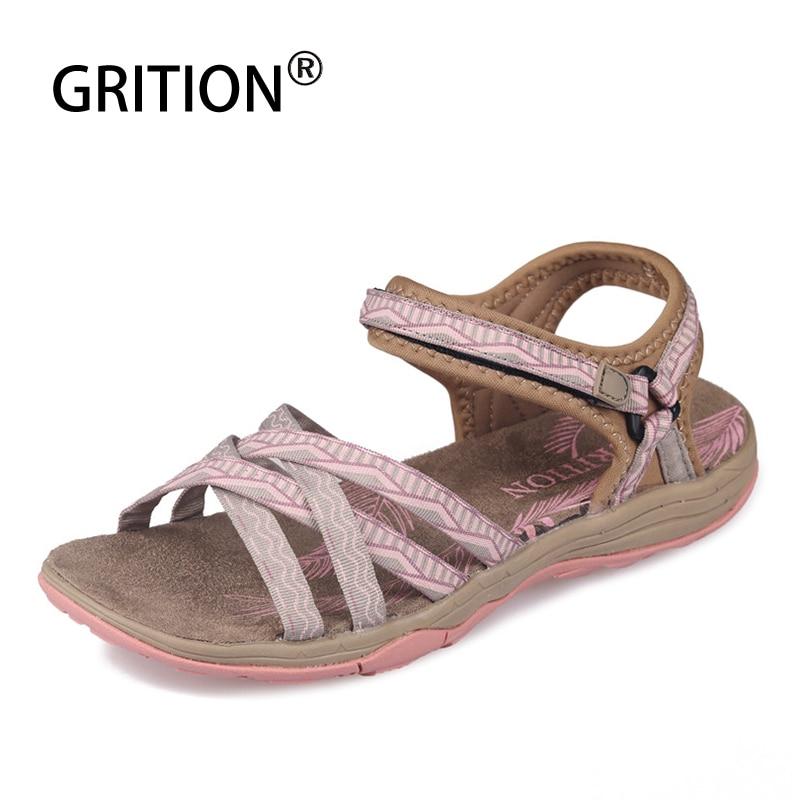 GRITION النساء الصنادل موضة عالية الجودة الصيف أحذية نسائية في الهواء الطلق السيدات صندل كاجوال مسطح 2020 المضادة للانزلاق حذاء ارتحال