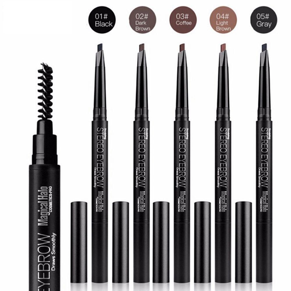 Halo mágico automática profesional natural larga duración cejas lápiz de cejas lápiz con brocha cosmética herramientas de maquillaje