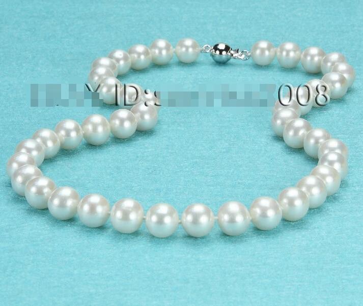 > AAA + + 9-10mm collar de perlas blancas de agua dulce/585 sólido
