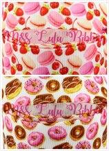 16mm-75mm Doughnut&Macaroon&Fruits Printed Grosgrain Ribbon/Foe Dessert Patterns DIY Party&Birthday Home Decoration 50yards/roll