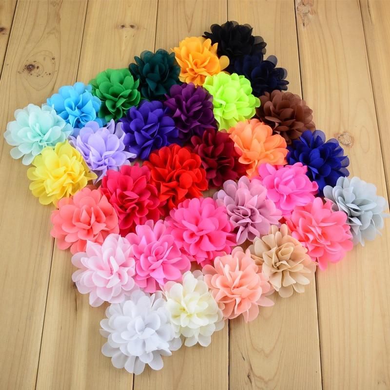 10pcs/lot Fashion 30colors 7cm Chiffon Fabric Flower Flat Back For Baby Girls Headband DIY Craft Garment Hair Accessories