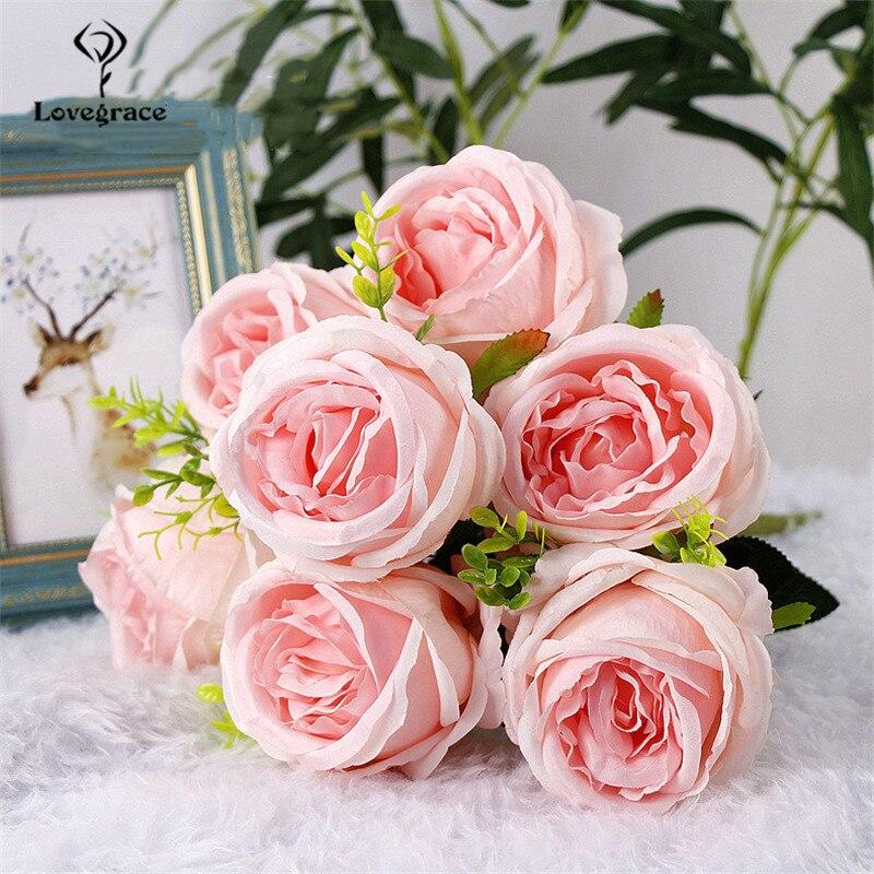 Calidad boda Artificial flores de peonía blanca montón a mano hecho a mano DIY ramo de novia, decoración de la boda Rosa Accesorios