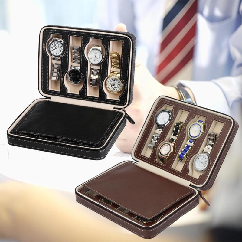 2/4/8 Grids PU Leather Watch Box Watch Organizer Storage Watches Display Case Tray Zippere Travel Jewelry Watch Collector Case