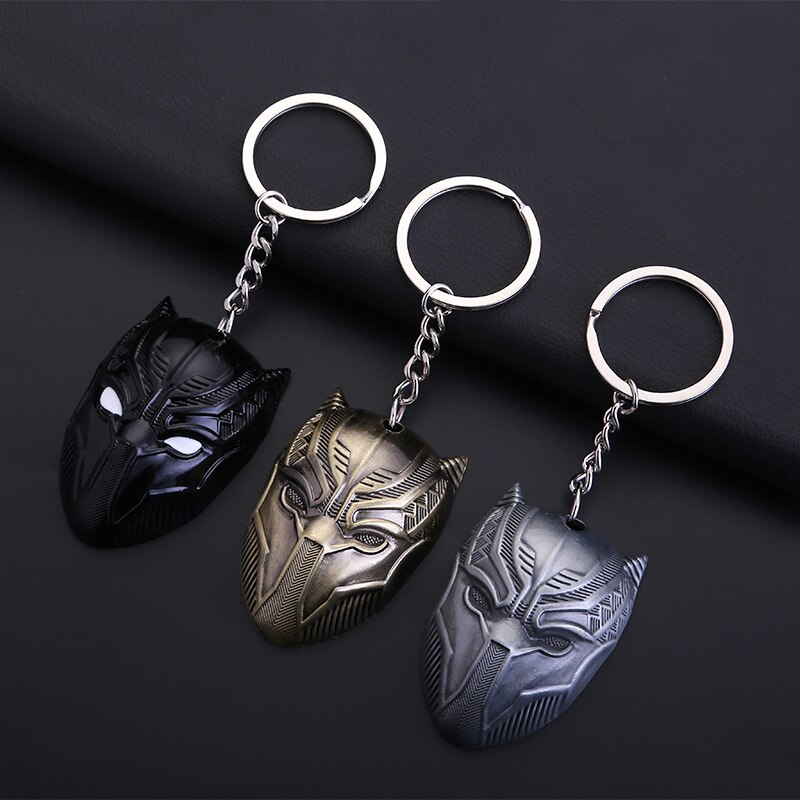 Llavero Pantera negro para hombre, modelo de Metal, llavero colgante, figura de acción, juguetes de Cosplay