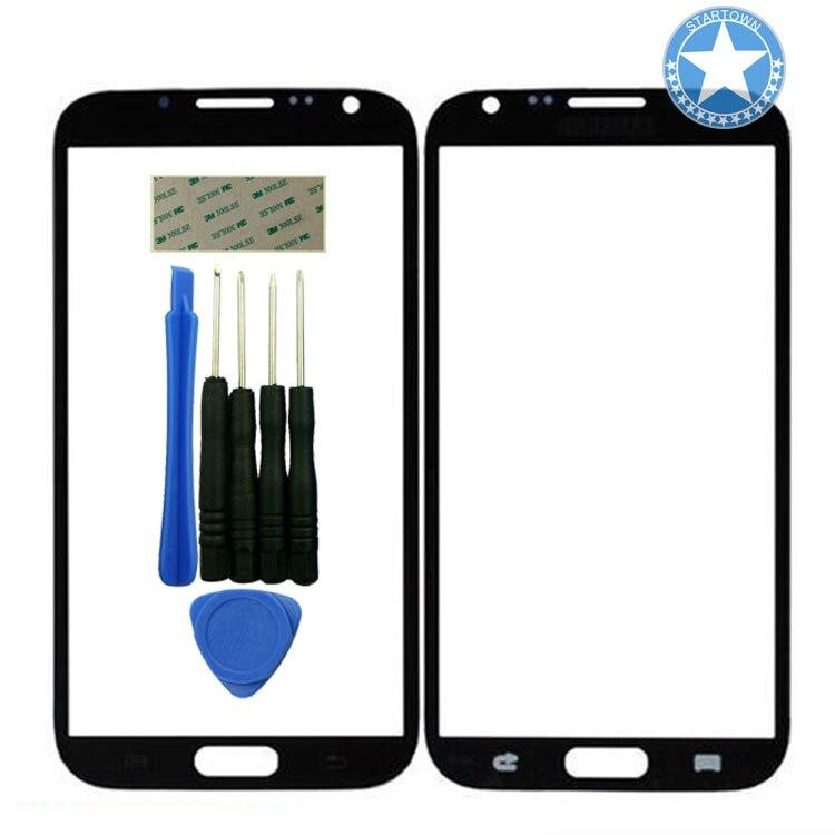 Pieza de reparación de repuesto de lente de cristal frontal de Panel exterior negro para Samsung Galaxy Note 2 II N7100 con herramientas adhesivas