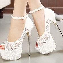 Zapatos de mujer, sandalias, sandalias con hebilla de encaje, sandalias sexys de tacón delgado de 16,5 CM, zapatos de boda, zapatos de bailarina de tubo de acero para chica