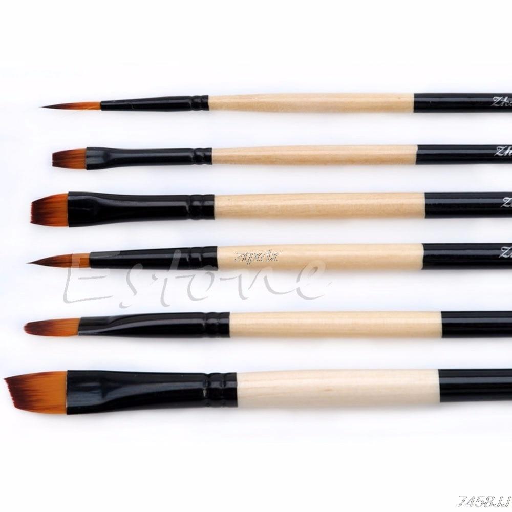 New Hot 6 Pcs/Set Flat Nylon Hair Paint Brush Gouache Acrylic Oil Painting Art Craft Whosale&Dropship enlarge