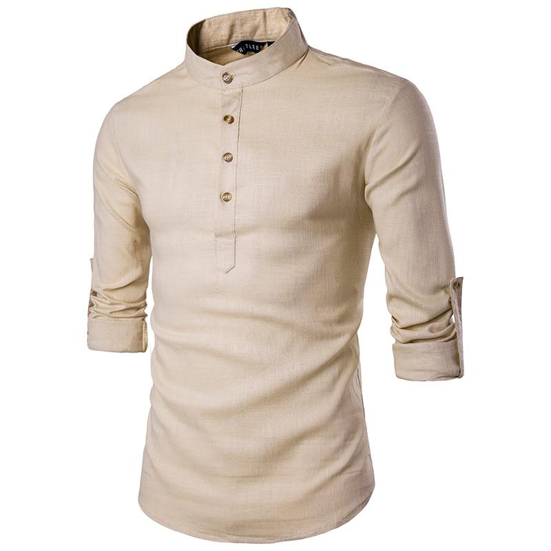 Camisa informal de manga larga con cuello mandarín para hombre 2019, camisas de color sólido, camisa de estilo chino tradicional, mezcla de algodón de talla grande