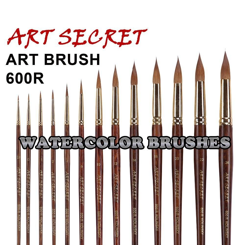 600R high quality pure kolinsky hair gold plating ferrule oak 180MM wooden handle watercolor paint art supplies artist brush