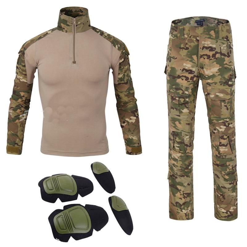 Free shipping American military uniform tatico tacticalarmy combat shirt multicam militar tactico camisas military men clothes