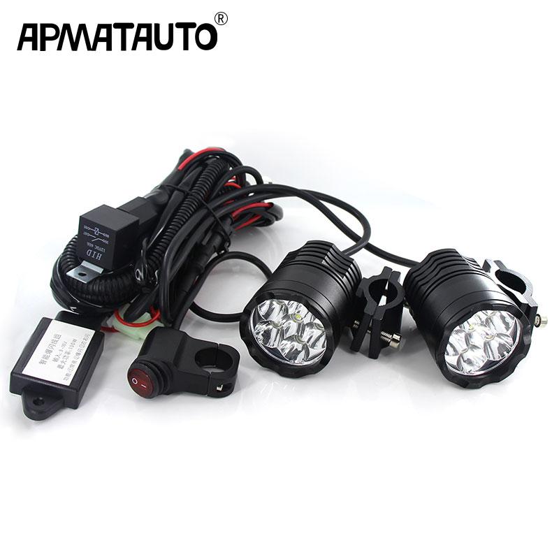 2X LED أضواء مساعدة المصباح LED العمل ضوء مصباح التوقف القيادة الضباب 12 V سيارة دراجة نارية + الأسلاك تسخير + التتابع لتويوتا هوندا