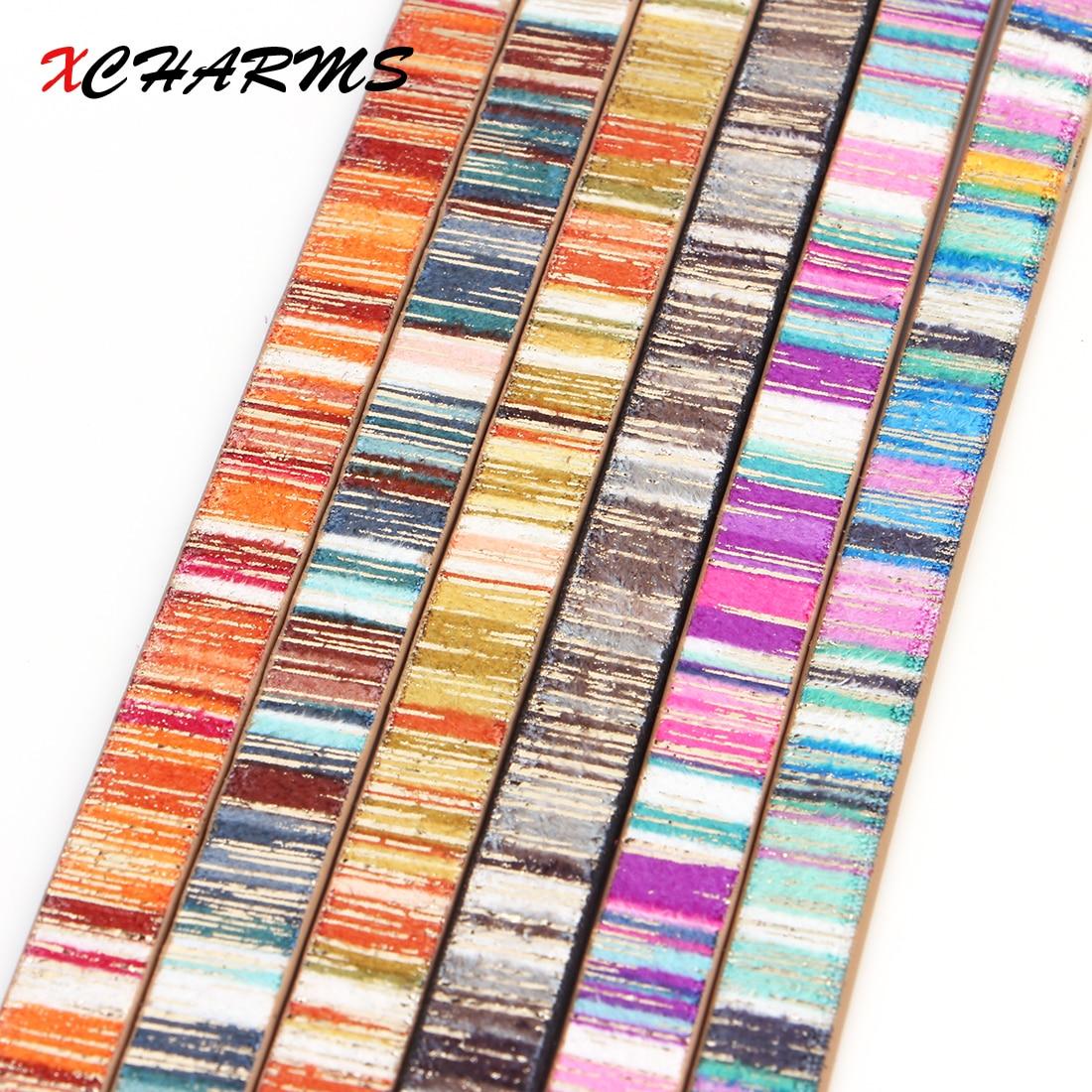XCHARMS 10MM/cuerda de cuero/Arco Iris/piezas de accesorios/hallazgos de joyería/hecho a mano/Fabricación de joyas/material de pulsera