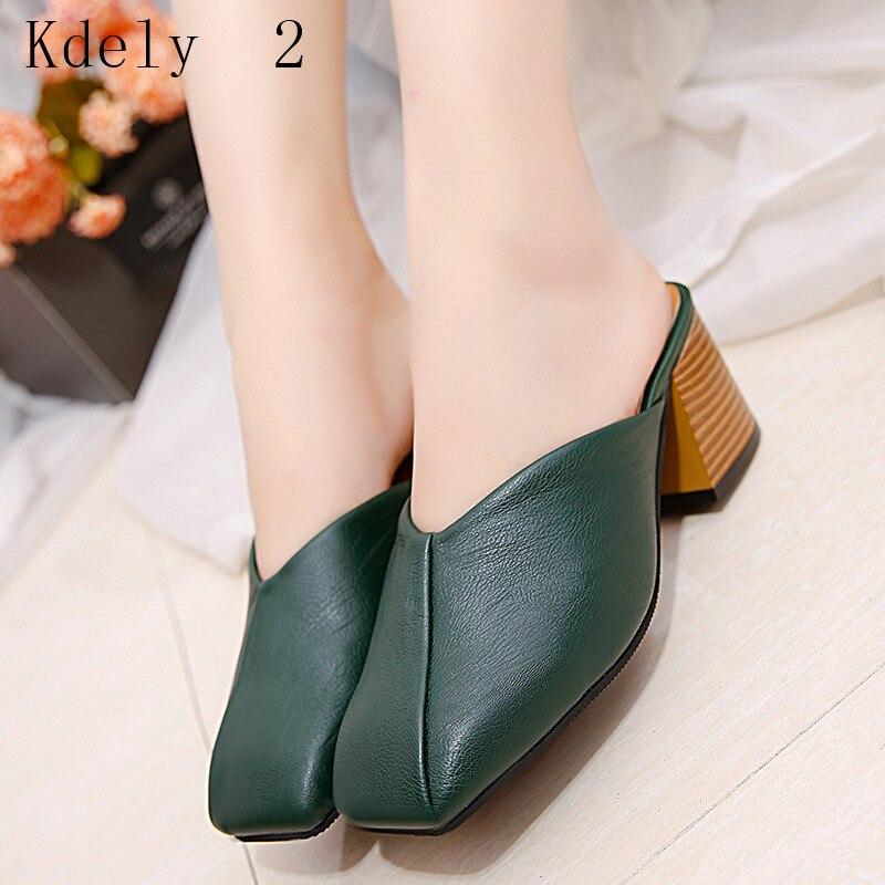 Women Mules Slipper Vintage heels  Block Strap Closed Shallow High Heels Shoes Sandals 2019 Korean Pumps