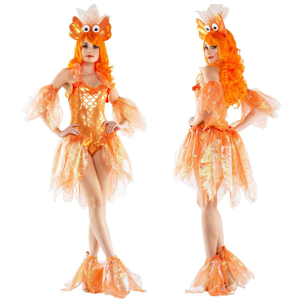 Sexy Bling Mermaid Goldfish Princess Cosplay Dress Costume Halloween Adult Fancy Dress KM10032