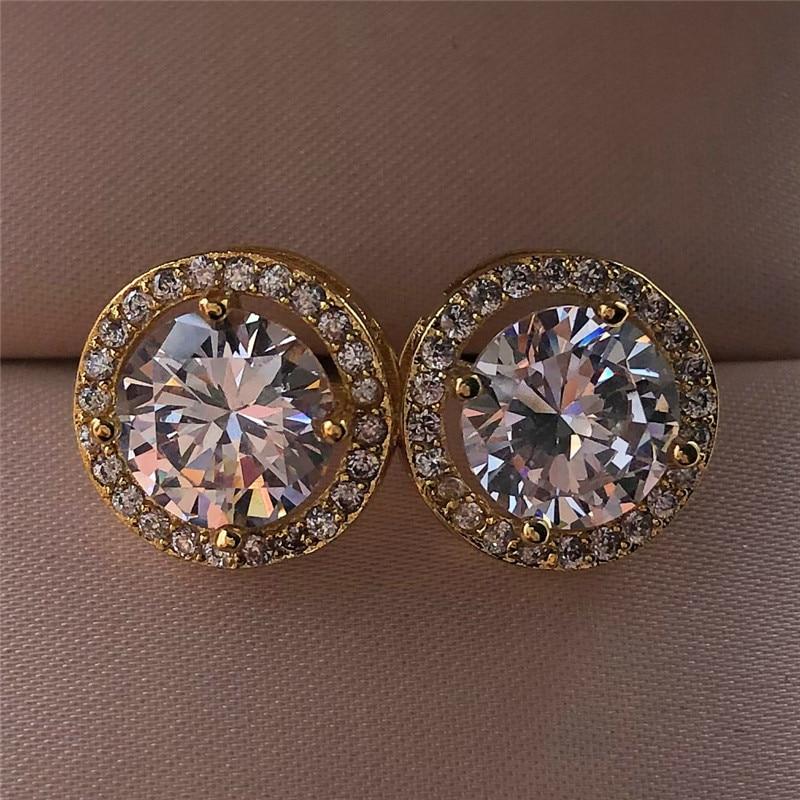 Wanita mewah anting-anting kristal bulat pejantan warna perak antik - Perhiasan fesyen - Foto 3