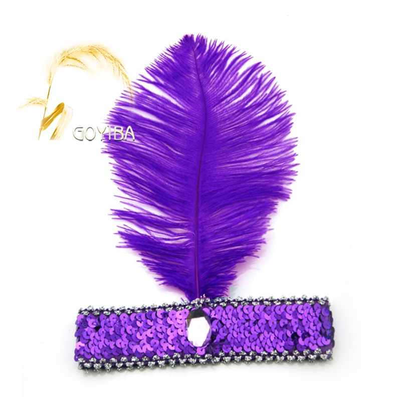 GOYIBA 1 PCS Pena de Avestruz Roxo 1920 s Lantejoulas Headband Flapper Headpiece Headwear Bola Carnaval Traje Do Partido Do Vestido Extravagante