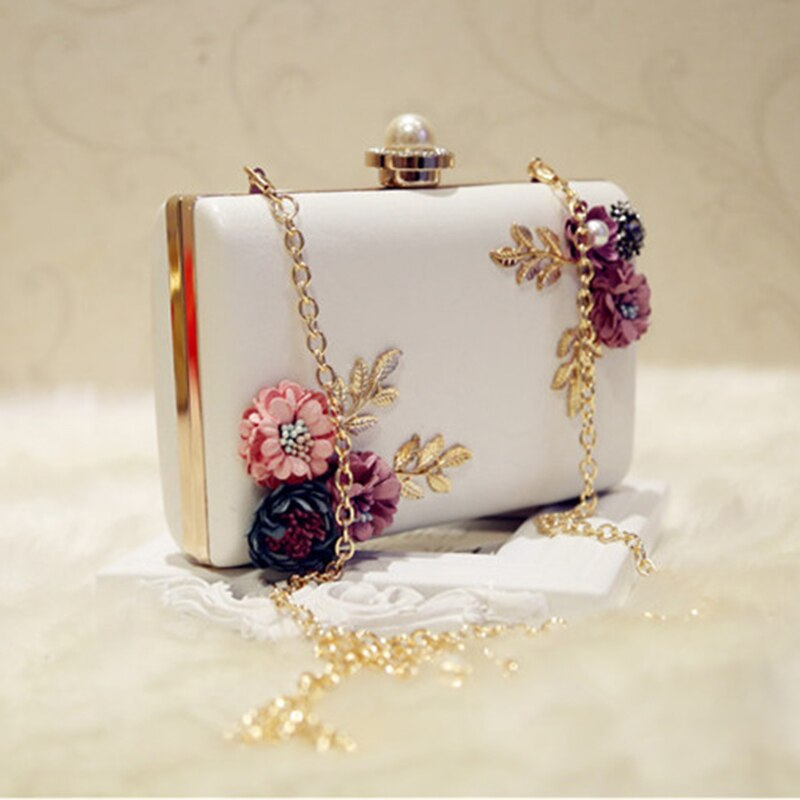 Fashion Women Leather Evening Bag Dinner Party Lady Wedding Flower Clutch Purse(white)