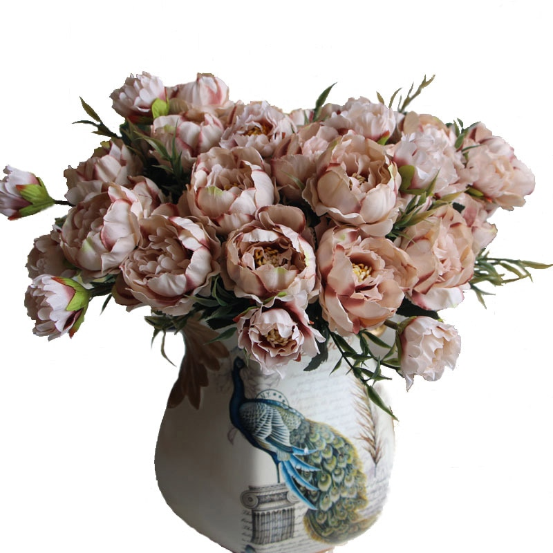 8 Head Europe Peony Silk Flower Arrangement Artificial Fake Bouquet Wedding Living Room Table Home Garden Decor