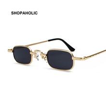 Lunettes de soleil Steampunk Vintage femme   Lunettes de soleil rétro petit carré en métal, lunettes de mode pour hommes et femmes, marque de styliste Vintage, haute qualité