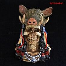 Adornos de calavera tau de lobo indio, figura de decoración de cráneo de búho, figura de decoración de estatua de papel