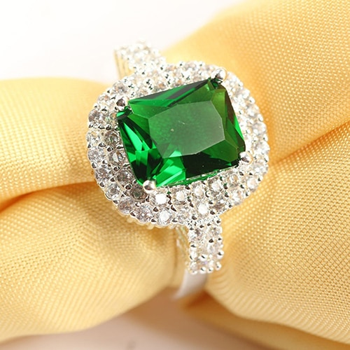 New Product Women's Green Zircon Silver Plated Ring Fashion Wedding Bague Jewelry Gift Engement Ring