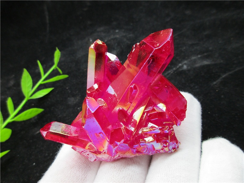Galvanoplastia Natural cristal rojo racimo cuarzo esquelético punto varita Mineral cristal curativo Druse Vug espécimen