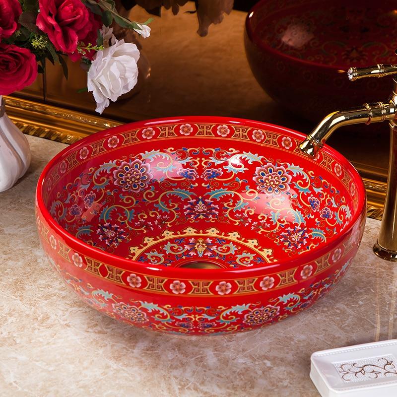 Estilo europeu famille rosa porcelana ocidental pias de banheiro