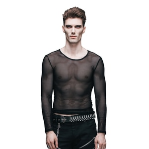 Devil Fashion Steampunk T Shirt Men Sexy See-through T-Shirt Gothic Black O-Neck Long Sleeve Stretch Mesh Tshirt Tee Tops