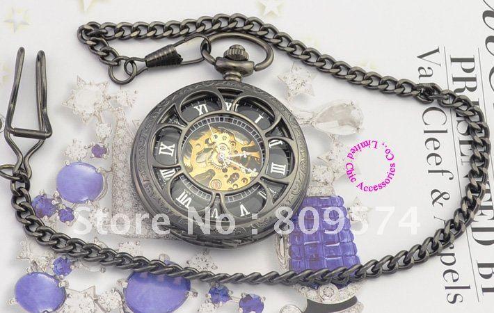 Venta al por mayor, precio del comprador, buena calidad, retro, vintage, viejo, más lejos, nueva cadena de reloj de bolsillo mecánico con forma de pétalo negro