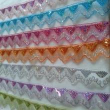 SASKIA-Paillettes dentelle africaine 10Yard   Paillettes de longueur, matériau tissu Organza, ruban tressé, garniture coudre vêtements de danse rideau accessoire or