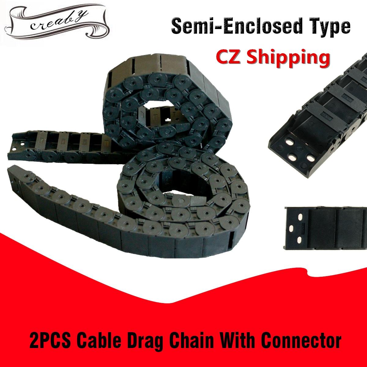18x37mm 18x50mm R38 longitud 1M Cable plástico Semi cerrado cadena de arrastre portador de alambre para impresora 3D CNC maquina enrutadora 2 uds