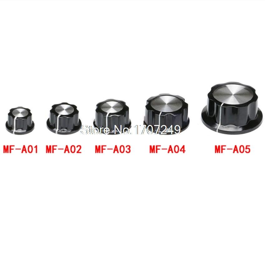 1000 قطعة MF-A01/A02/A03/A04/A05 الجهد التحكم المقابض أعلى أسود الفضة لهجة الجهد المقبض/قبعة 6 مللي متر حفرة الداخلية