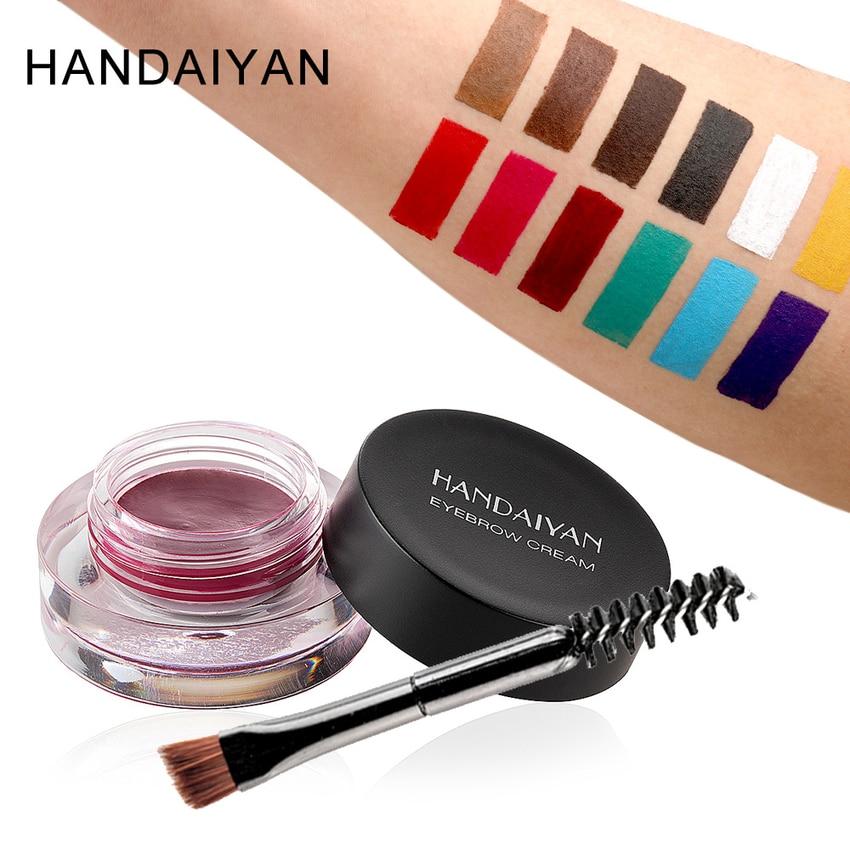 Gel de cejas multifunción resistente al agua de 12 colores y delineador de ojos Gel para fiesta Show de maquillaje payaso cosméticos coloridos con pincel