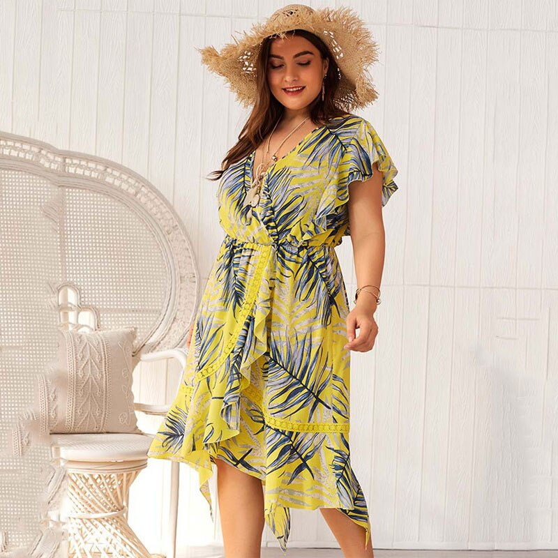 Plus Size Dress Women Fat 2019 Summer Elegant Party Dress Big Size Sexy Dress Beach   Print Womens Dresses Female V-neck 4XL