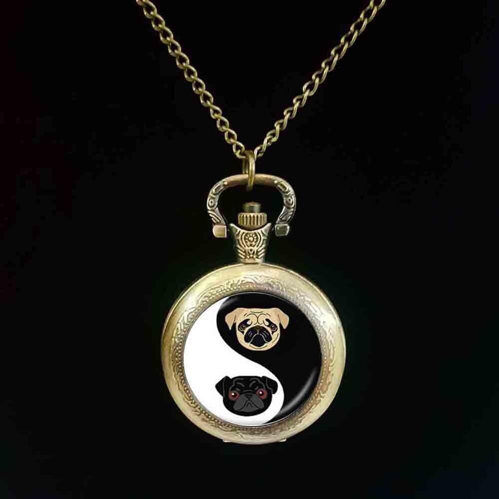 Yin Yang Pug reloj de bolsillo negro y Tan Bulldog reloj de bolsillo perro joyería regalos para los amantes del Pug joyería de rescate, cúpula de vidrio