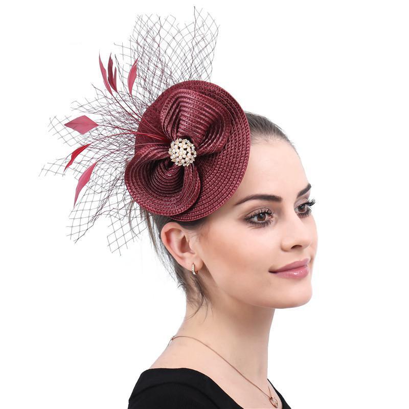 جديد الزفاف اليدوية القوس عقدة ريشة الديكور شبكة غطاء الرأس الزفاف الاجتماع السنوي السيدات خمر إكسسوارات الشعر صغيرة القبعات