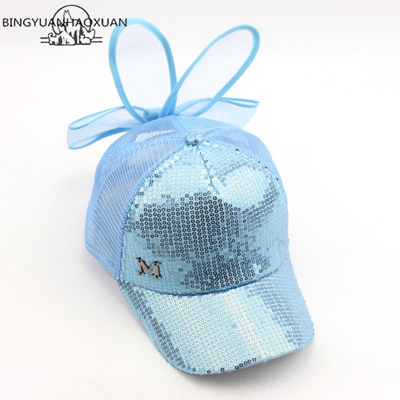 BINGYUANHAOXUAN Brand New Summer Children Kids Rabbit Ears Bow Cap Baseball Cap Hat For Girls Adjustable Snapback Casquette