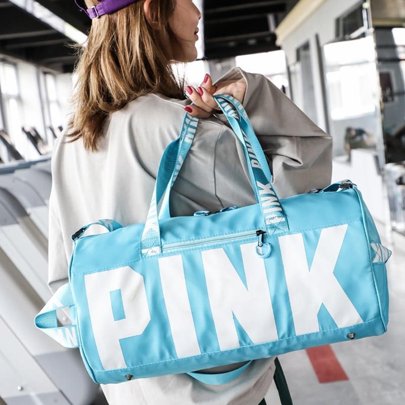 Новая женская розовая спортивная сумка для фитнеса, йоги, спортивная сумка для хранения обуви, сумка для путешествий, спортивные сумки на плечо, спортивная сумка, водонепроницаемый Багаж