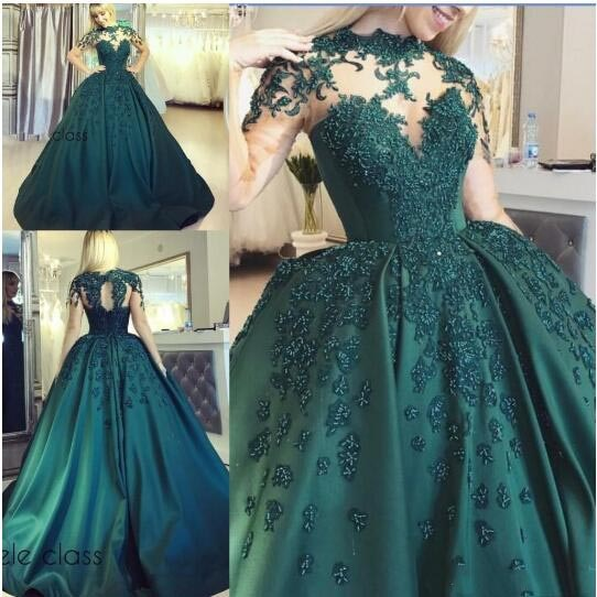2019 New Sexy Hunter Green Quinceanera Dresses High Neck Lace Appliques Beads Sweet 16 Open Back Plus Size Puffy Prom Evening