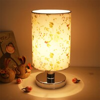 Modern Table Lamp Retro Bedside Lamp Fabric Lampshade Reading Lamp Night Light Bedroom Desk Lighting Christmas Creative Holiday