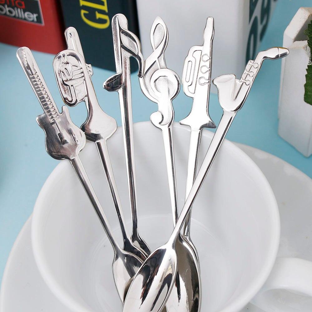 1pc Stainless Steel Coffee & Tea Spoon Music Symbol Long Handle Creative Spoon Drinking Tools Kitchen Gadget Flatware Tableware