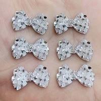 new silver bow shape resin rhinestones 20pcs 1423mm crystal stones diy wedding decorations hz49