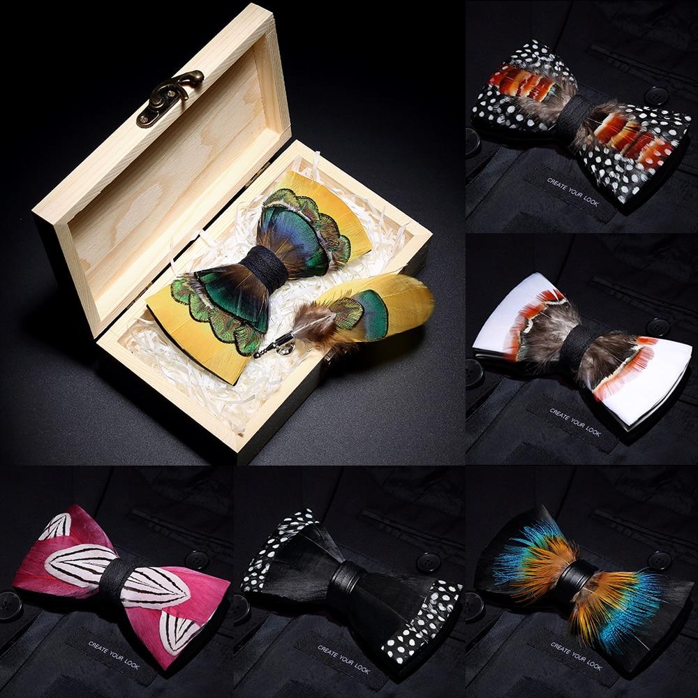 Галстуки-бабочки JEMYGINS, оригинальный дизайн, с перьевым бантом, Эксклюзивная Мужская брошь для галстука-бабочки ручной работы, деревянный подарочный набор для свадебной вечеринки, 2019