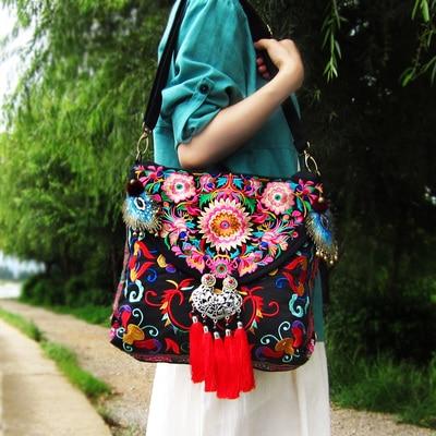 Brand canvas embroidered Women handbags vintage handmade feather tassel shoulder messenger bags